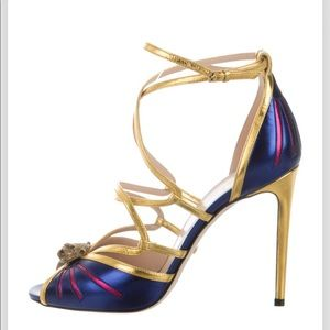 GUCCI blue and gold sandal!